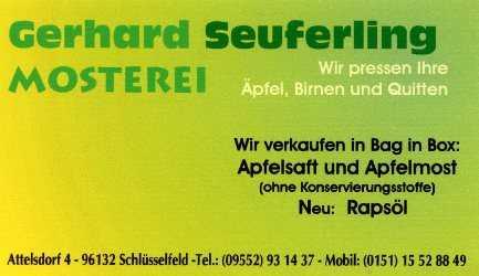 Mosterei Gerhard Seuferling Schlüsselfeld Attelsdorf