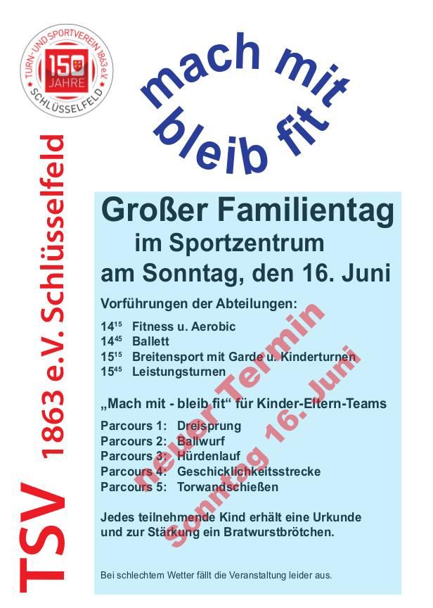 Großer Familientag im Sportzentrum TSV Schlüsselfeld zur 150 Jahrfeier Programm