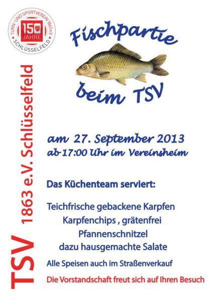 Fischpartie TSV Schlüsselfeld 2013 Poster