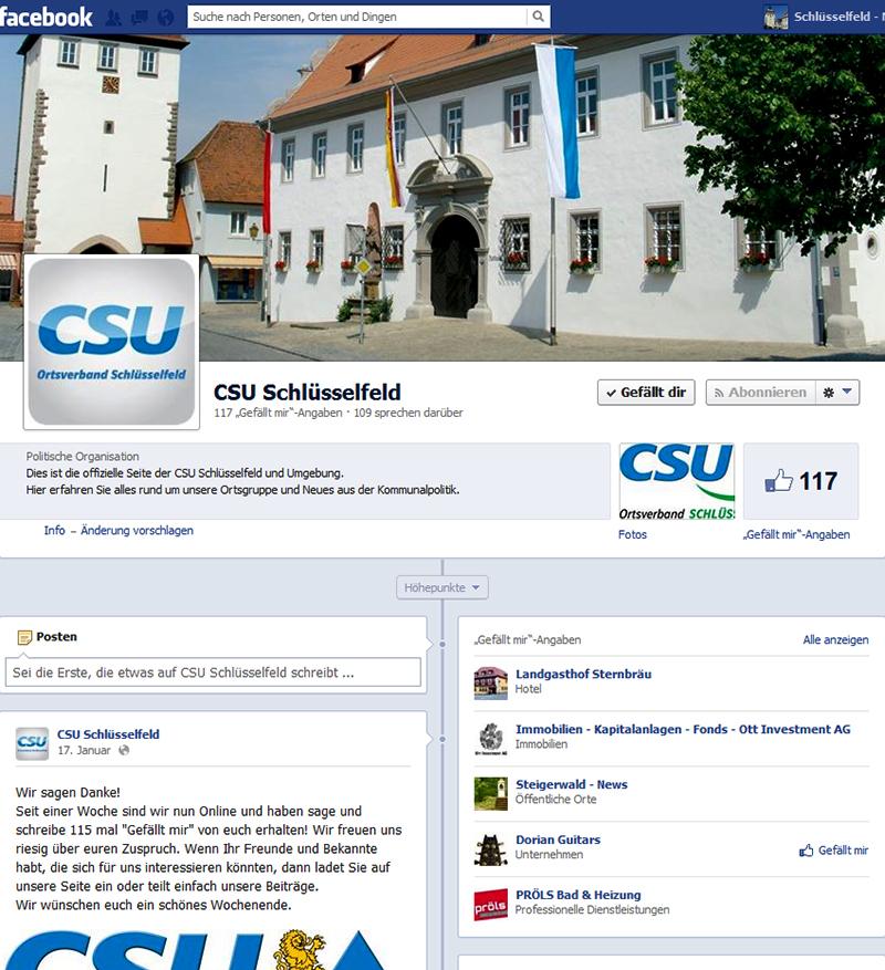 Facebook CSU Schlüsselfeld und Umgebung