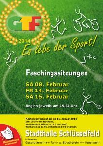 GTF Faschingssitzung 2014 Schlüsselfeld Plakat