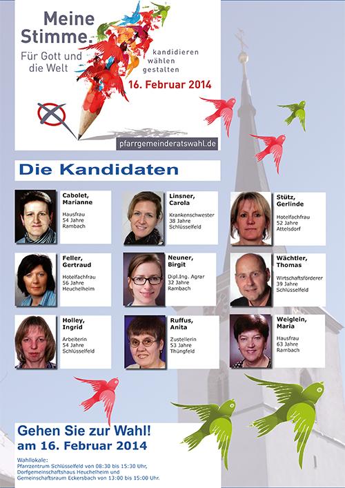 Pfarrgemeinderatswahl 2014 Pfarrei St Johannes der Täufer Schlüsselfeld