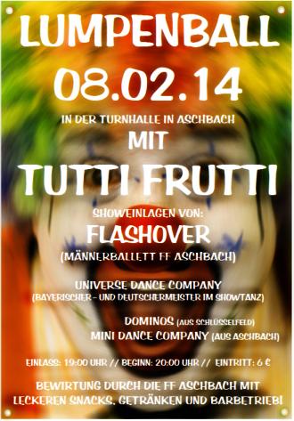 Lumpenball Aschbach FFW Aschbach 2014 Plakat