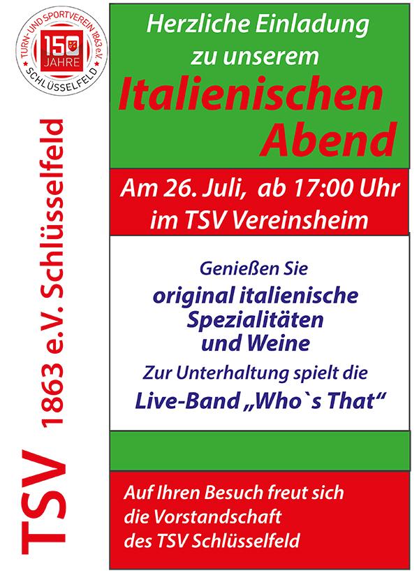 Italienischer Abend TSV Schlüsselfeld 2014 Poster Karibische Nacht Burghaslach