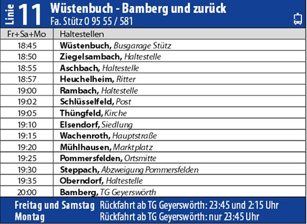 Sandkerwa Express Bus Shuttle Service Schlüsselfeld Bamberg 2014 Haltestellen Fahrzeiten