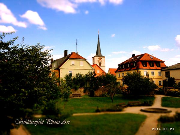 Stadtgarten Stadtpark Schlüsselfeld Foto Bild Oberfranken Steigerwald Kirche Stadtmauer Kunst