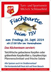 Fischpartie 2014 TSV Schlüsselfeld Vereinsheim Karpfen Salate Fischchips Karpfenfilet