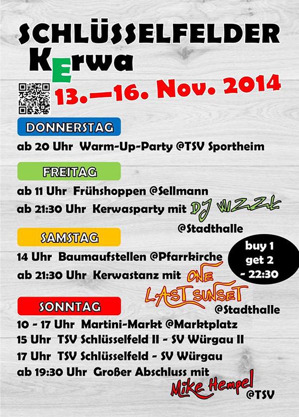 Kirchweih Schlüsselfeld 2014 Plakat hoch Schlüsselfelder Kerwa 2014 Party Gaudi Kerwasburschen und Madli