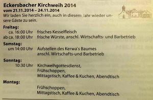 Kirchweih Eckersbach Programm 2014 Kerwa