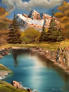 Berg Schnee Wald Wiese See Ölbild Ölgemälde Rainer Ott