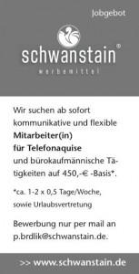schwanstein stellenausschreibung werbemittel schlüsselfeld