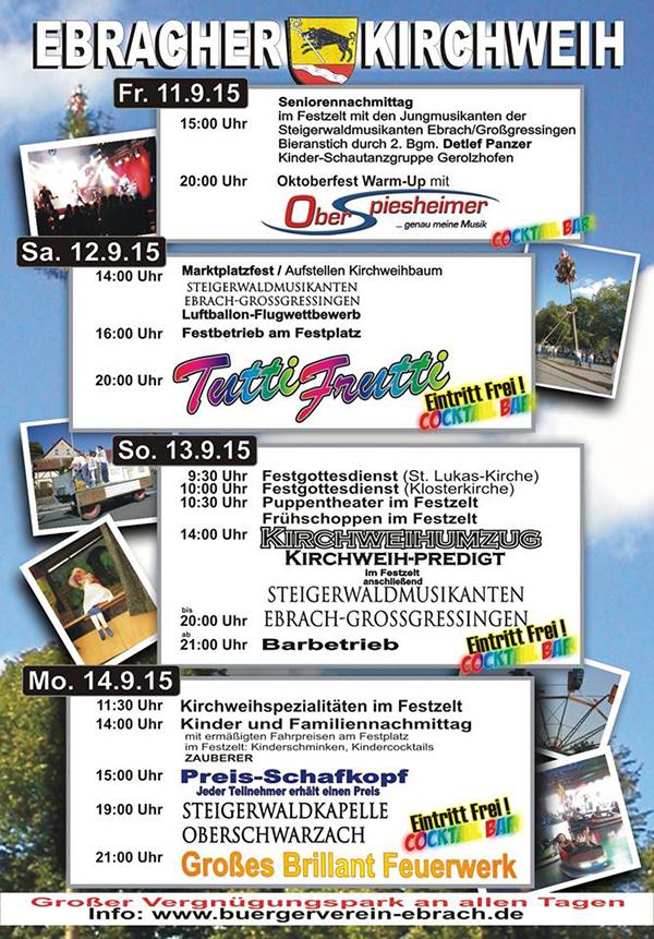 Ebrach Kirchweih Tutti Frutti Steigerwaldmusikanten Oberschwarzach 2015