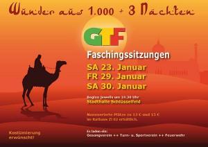 Plakat GTF Sitzung Schlüsselfeld Freitag Samstag Stadthalle Schlüsselfeld 2016 Beginn Vorverkauf
