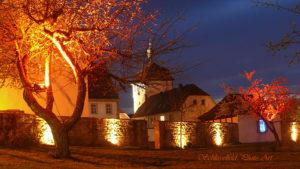 Stadttor Schlüsselfeld bei Nacht Stadtgarten