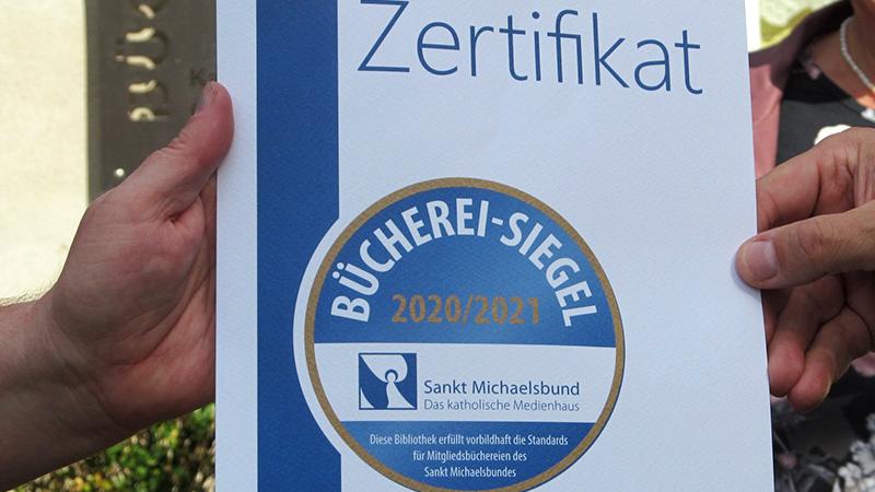 Zertifikat Bücherei Siegel Bücherei Schlüsselfeld