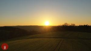 Schlüsselfeld Sonnenuntergang Acker